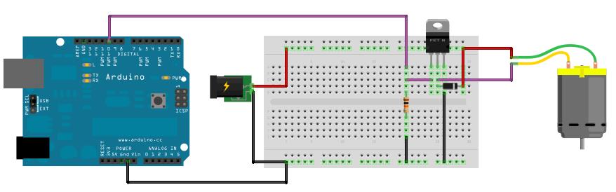 Arduino motor dc circuito pwm